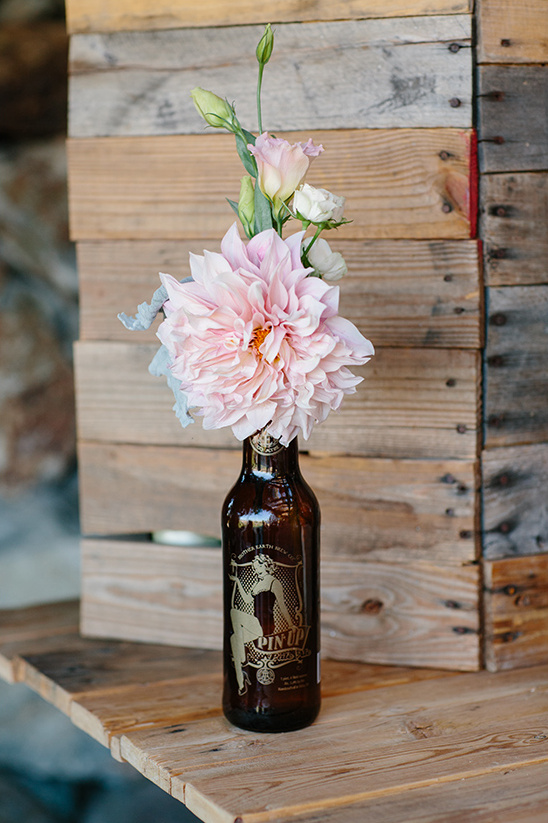 beer bottle florals @weddingchicks
