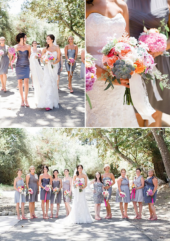 shades of gray and hot pink bridal party @weddingchicks