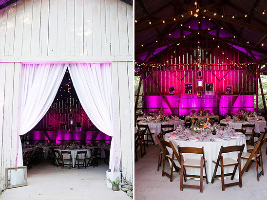 dramatically lit barn reception @weddingchicks