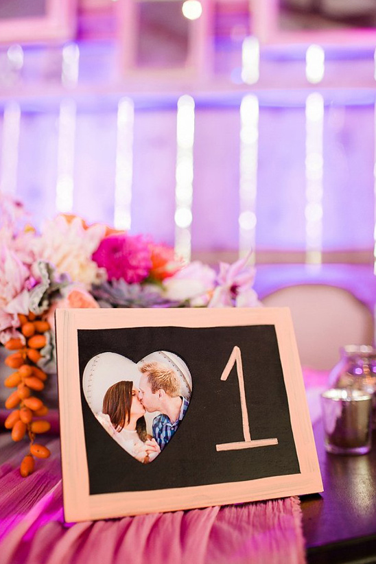 chalkboard photo table number @weddingchicks