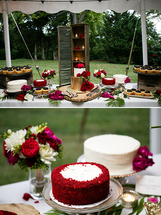 dessert table with red roses @weddingchicks