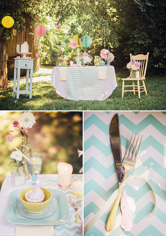 retro chevron stripe table ideas @weddingchicks