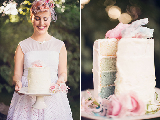 bride and blue ombre cake @weddingchicks