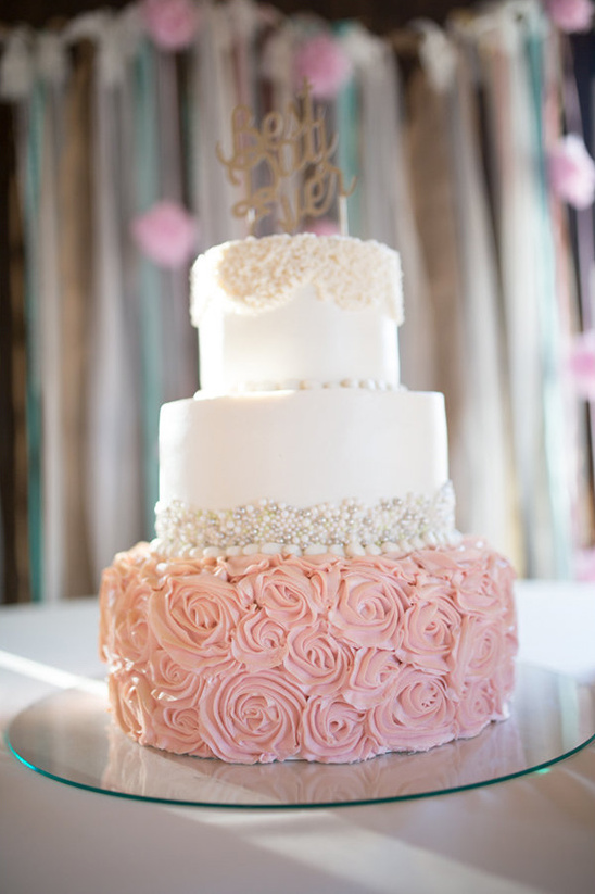 Gold Pink Wedding Cake