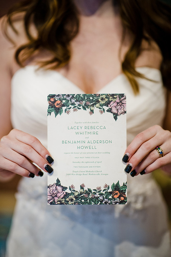 floral banded wedding invite @weddingchicks