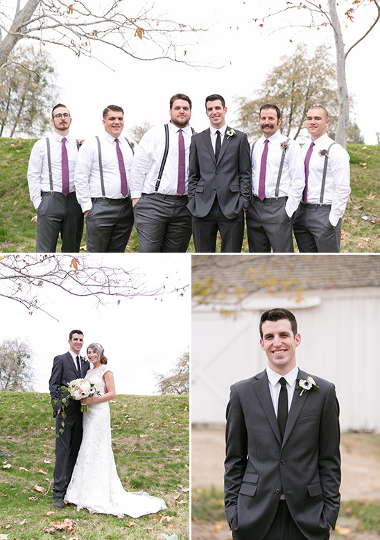 groomsmen with purple ties @weddingchicks