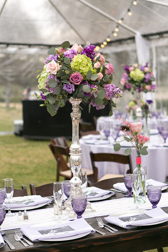 tall purple and green centerpieces @weddingchicks