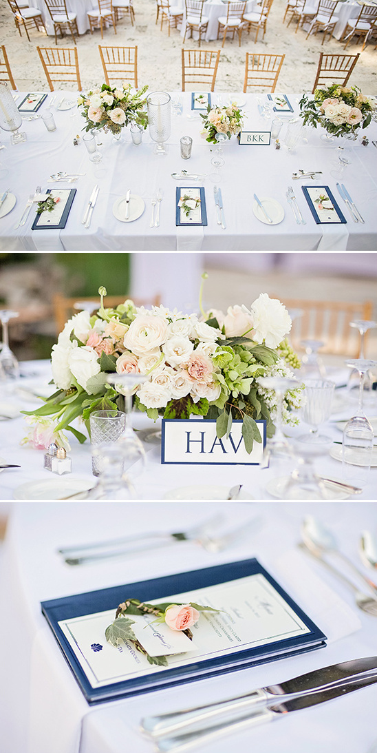 formal blue and white dinner reception @weddingchicks