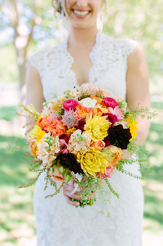 yellow pink and orange bouquet @weddingchicks