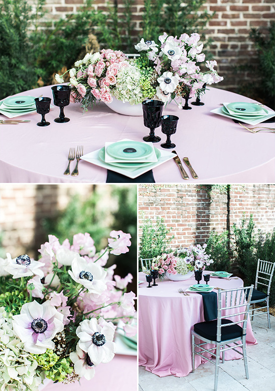 pink teal and black table decor @weddingchicks