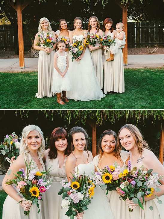 bridesmaids with sunflower bouquets @weddingchicks
