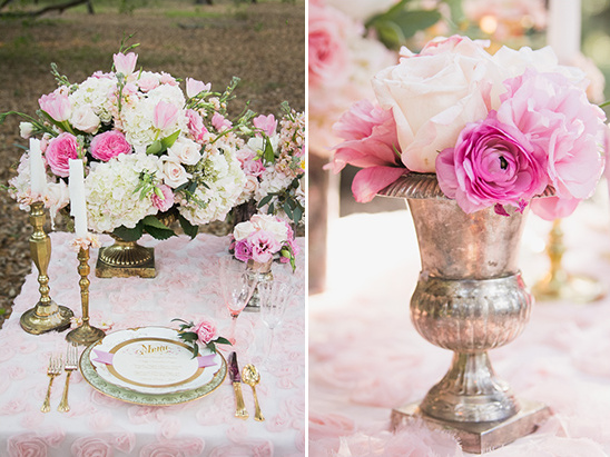 stunning pink and white table decor