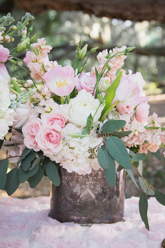baby pink and white floral centerpiece
