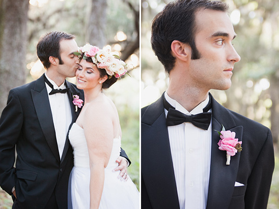 black and pink grooms look