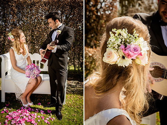 rose and daisy hair florals @weddingchicks
