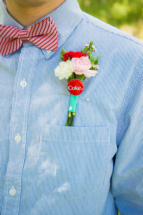 coke boutonniere @weddingchicks