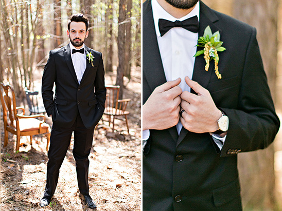 grooms black and white tux with bowtie @weddingchicks
