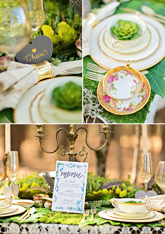 table decor with succulents and teacups @weddingchicks