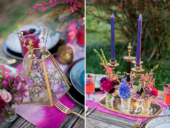 pink and purple table decor @weddingchicks