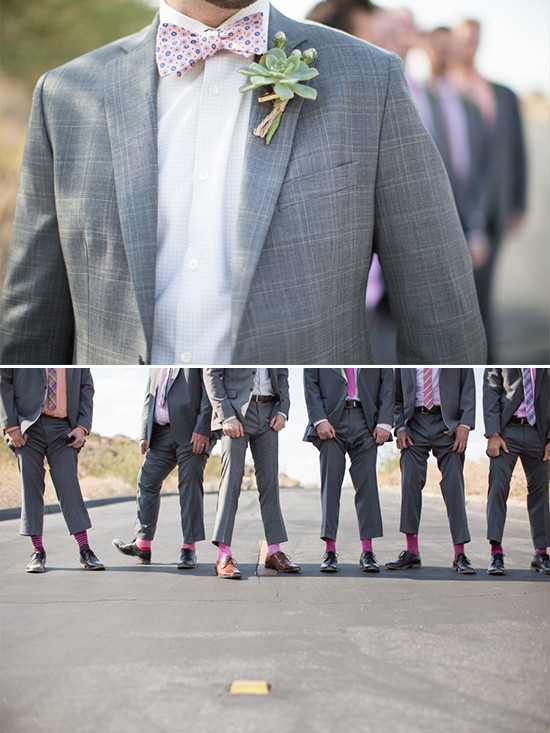 pink and gray groomsman @weddingchicks