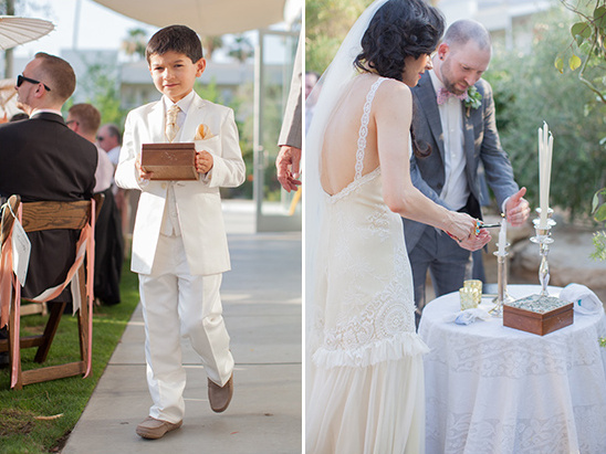 wedding ceremony and ring bearer in white @weddingchicks
