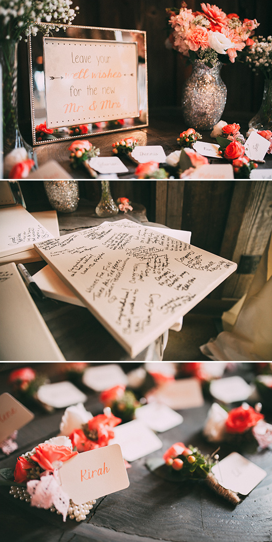 guest book and corsage and boutonniere favors @weddingchicks