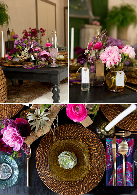 deep purple and pink table decor @weddingchicks