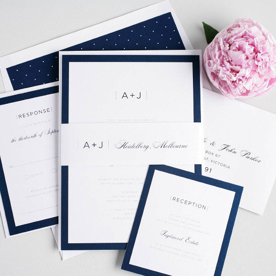 Sophisticated Modern In Navy Wedding Invites from Shine Wedding Invitations. #weddingchicks