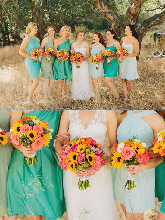 various shades of green bridesmaids @weddingchicks