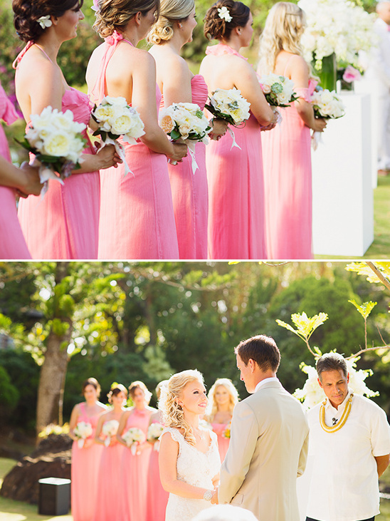 bridesmaids in pink and tropical ceremony details @weddingchicks