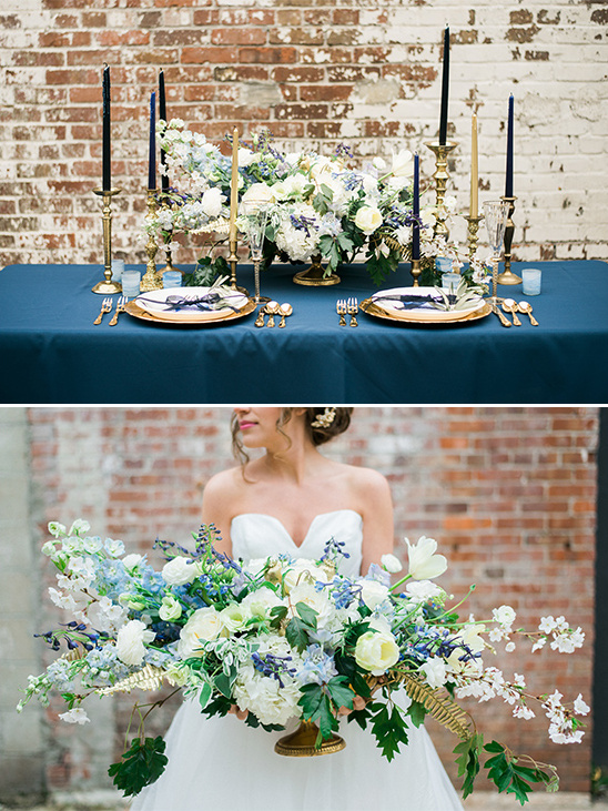 beautiful blue and white floral centerpiece