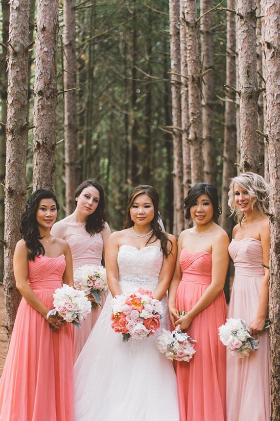 pink and coral bridesmaid dresses @weddingchicks
