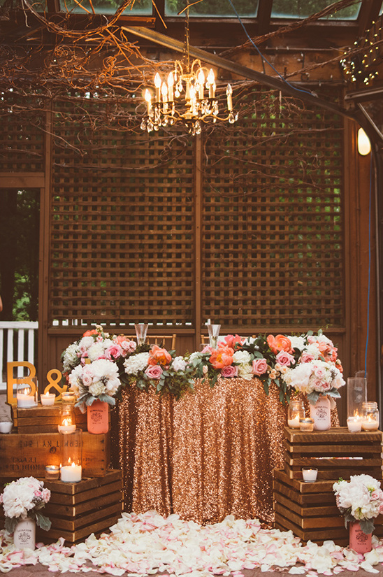 glam sweetheart table ideas