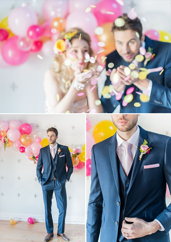 navy and pink groom look