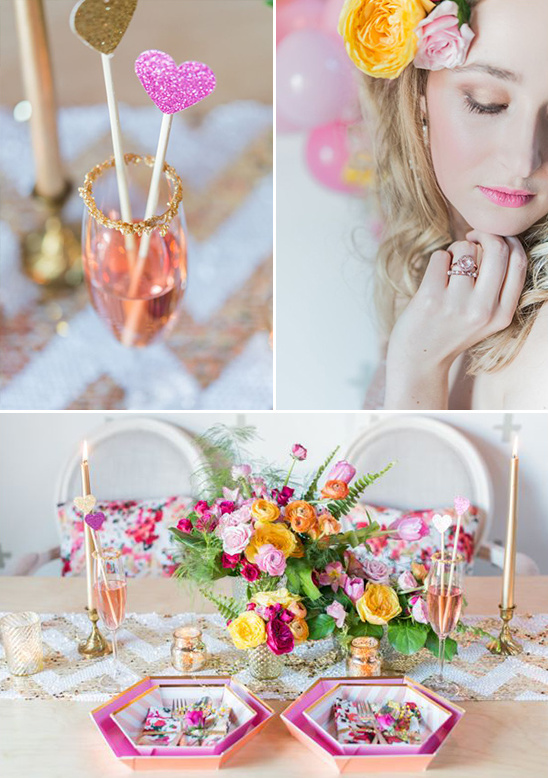 pink champagne and modern decor