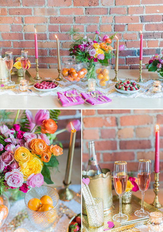 glam pink and gold dessert table
