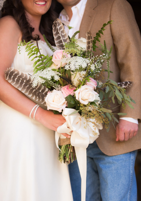 rose and turkey feather bouquet