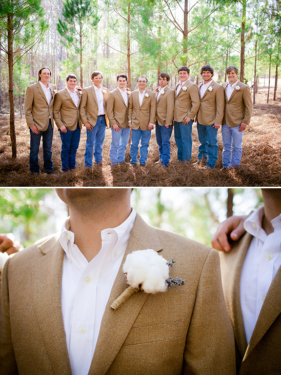 tan and denim groomsmen with cotton boutonnieres
