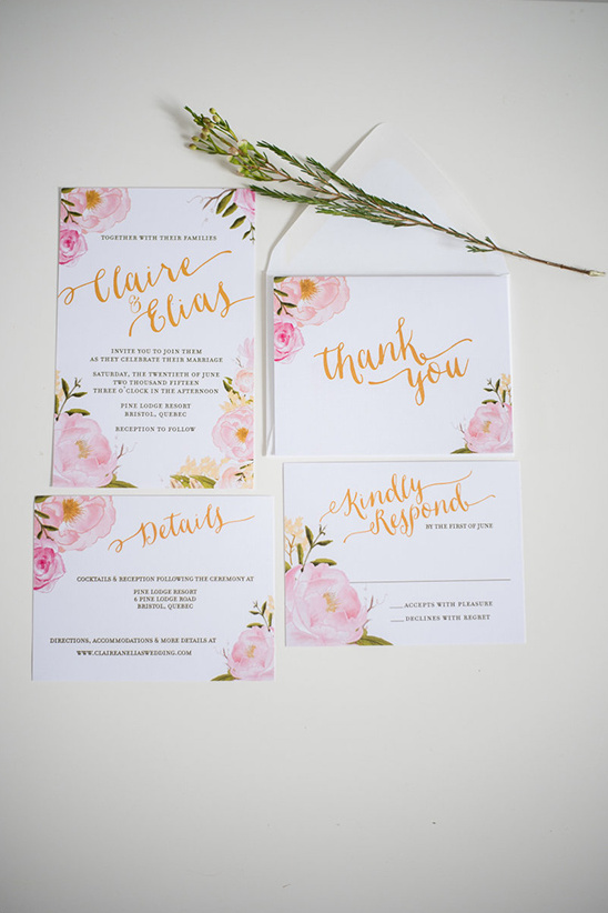 pink floral wedding stationery @weddingchicks