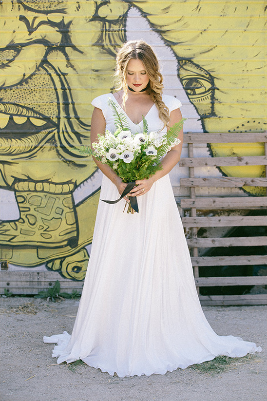 modern bridal gown with loose florals