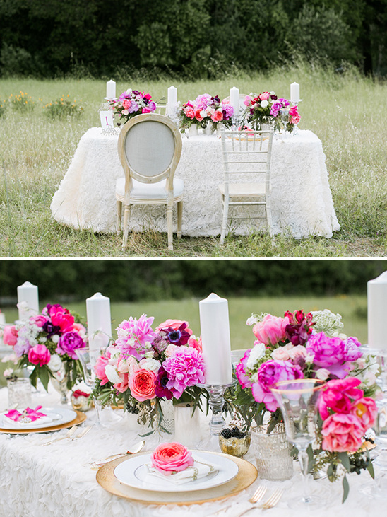 pink and fuchsia table details