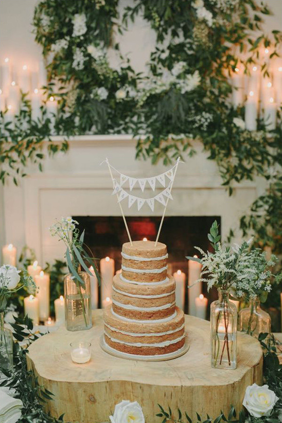 naked cake with mini bunting topper