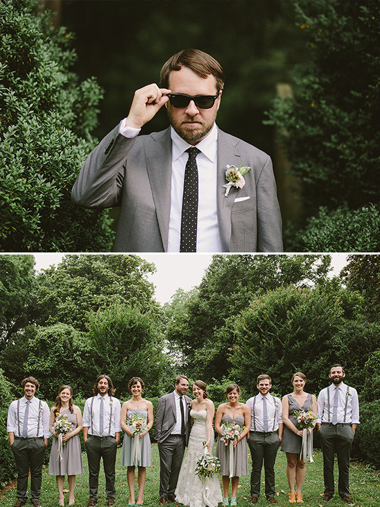 gray and white wedding party