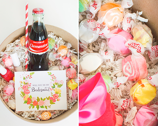 Bridesmaid box with personalized coke bottles @weddingchicks