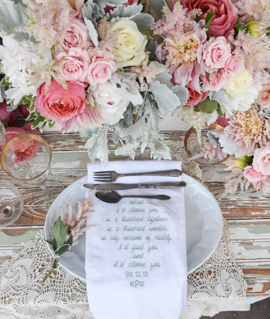 Custom wedding napkins from Primrose and Company. @weddingchicks