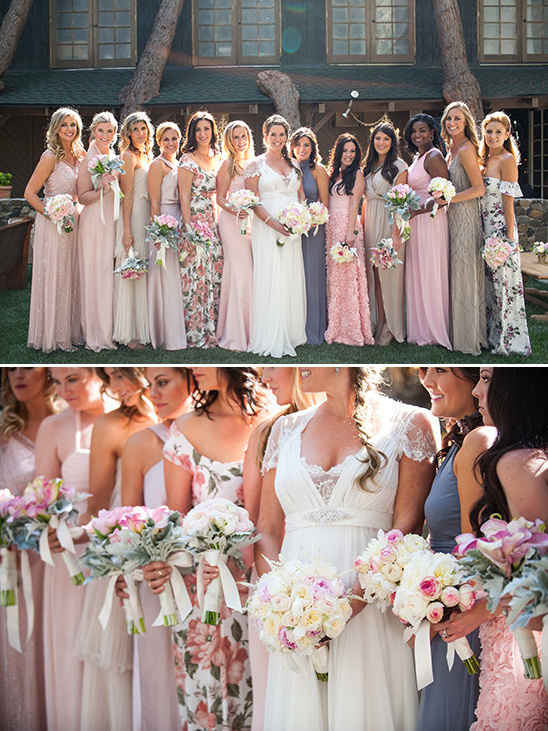 bridesmaids in assoreted dresses @weddingchicks