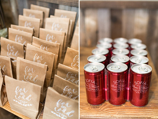 favor bags and champagne to go @weddingchicks