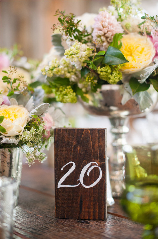 wooden block table number @weddingchicks