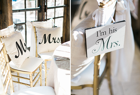 mr and mrs pillows and chair signs @weddingchicks