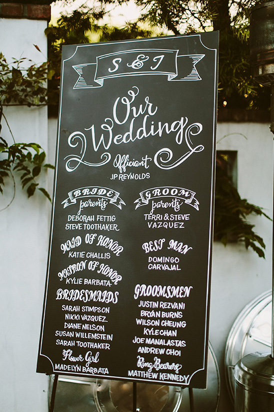 chalkboard wedding program sign @weddingchicks
